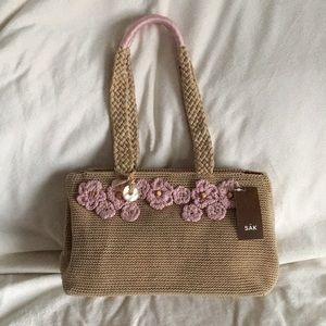 The Sak beige Sakura pink embroidered crotchet bag
